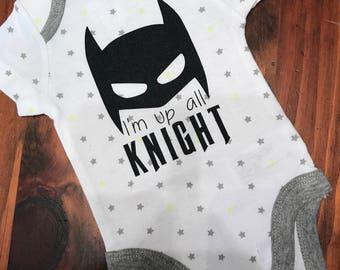 Baby boy bodysuit, up all knight, up all night, batman onesie, super hero onesie, baby shower gift, baby boy gift, new baby gift