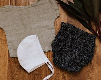 Black and white cotton dot Highwaisted Ruffle Bloomers