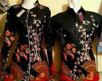 NEW Trend fashion couple batik shirt and blouse sarimbit batik black cheongsam