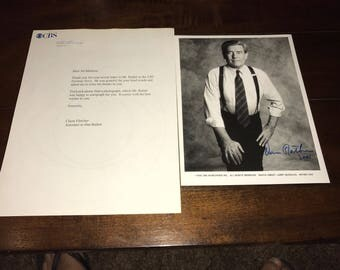"""Dan Rather autographed signed 7"""" X 9"""" Photo with letter from CBS Super Rare"""