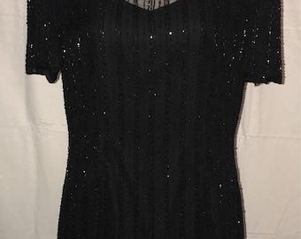 Vintage 1980's Black Beaded Dress / size 12 / by Stenay