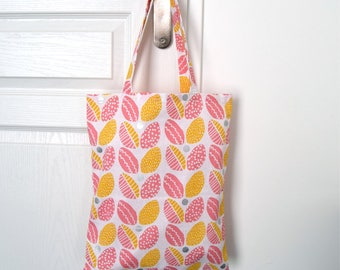 """Tote bag """"Pink & Yellow Leafs"""""""