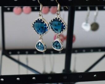Blue earrings - boucles d'oreilles en argent 925
