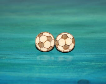 Wooden, Soccer Ball Earrings
