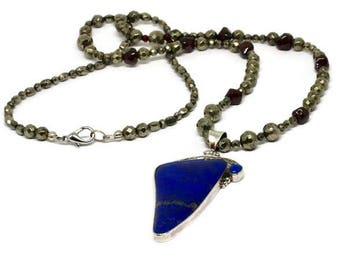 Lapis Lazuli Pendant Necklace, Garnet and Pyrite Necklace with Lapis Pendant, Lapis Pendant Necklace with Garnet and Pyrite