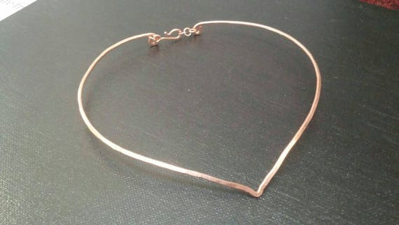 Thick Metal Wire Choker Necklace in silver gold or copper