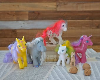 Set of 6 horses - Vintage toys - My Little Pony SUGARBERRY and more - Unicorn