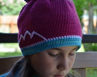 "Hand crocheted ""Ridgeline"" hat (kid size)"