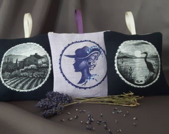 Hand painted linen decoration, provance gift (organic dried lavender inside)