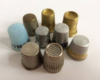 Vintage Thimbles Lot of 9, Instant Collection, Brass EZ Thimbles, W Germany, Advertising Metal, Brass, Silver, Plastic, Sewing Notion Supply