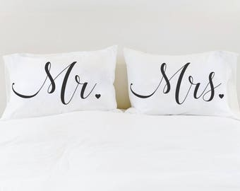 Mr Mrs Pillowcases Couples Pillow Cases Mr Mrs Pillows Unique Wedding Gift Mr Mrs Gift for Couple Bridal Shower Gift for Newlyweds Newly Wed