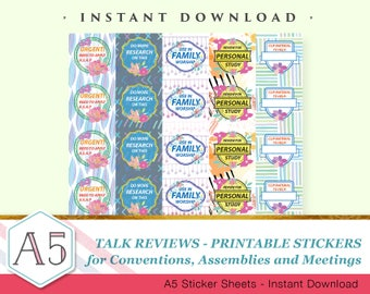 Talk Reviews - Floral - 1 sheet Printable Sticker - Size A5 - Scalable
