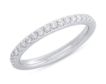 Brilliant Women's 0.55CT 14K White Gold Diamond Eternity Ring Wedding Anniversary Band Size 5.5