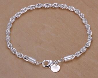 Silver Twist Chain Bracelet