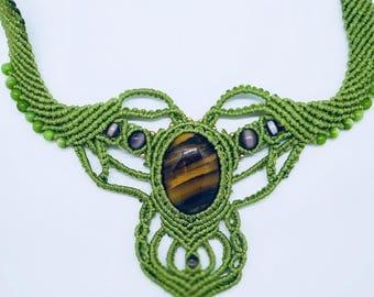 Tigers Eye Macrame Necklace