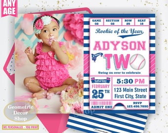 Second Birthday invitation Vintage Baseball Sports Invite 2nd All star invitations Two Ball pink blue invites girl photo photograph BDSP28