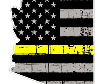 Arizona State (E5) Thin Yellow Line Dispatch Vinyl Decal Sticker Car/Truck Laptop/Netbook Window