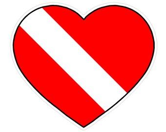 Heart Shape (Y53) Diver Down Flag Vinyl Decal Sticker Love Car Laptop/Netbook Window