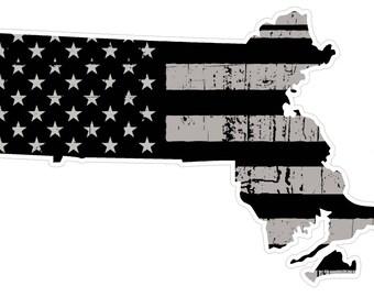 Massachusetts State (N22) Distressed Flag Vinyl Decal Sticker Car/Truck Laptop/Netbook Window