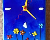 "Blue Northern Fused Glass Wall Clock 10"" x 15"""