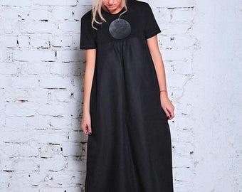 SALE Linen Maxi Dress/ Plus Size Linen Dress/ Plus Size Maxi Dress/ Black Caftan Dress/ Black Kimono Dress/ Black Kimono / Plus Size Caftan