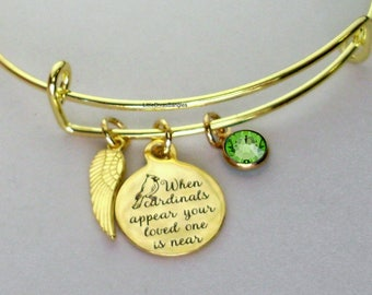 """GOLD"""" When Cardinals Appear Your Love One Is Near """"W/ Birthstone  / Feather - Missing A Love One - Gift Personalize  Gift For Her Usa G1"""