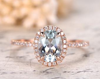 6x8mm Oval Cut Aquamarine Ring Aquamarine Halo Ring,Aquamarine Engagement Ring Solid 14k Rose Gold