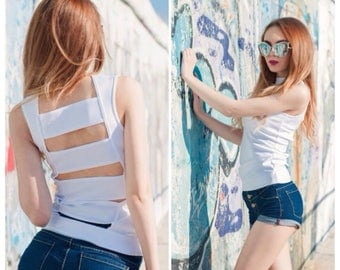 Women's Tops / Cut Out Back Top / White Top / Summer Top / Women's Clothing