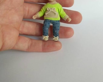 """Dollhouse OOAK baby  Art doll 2,2""""  for dollhouse 1/12 miniature"""