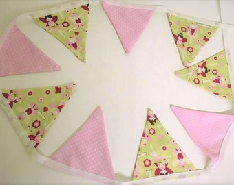 Pretty Green & Pink Fairy Bunting