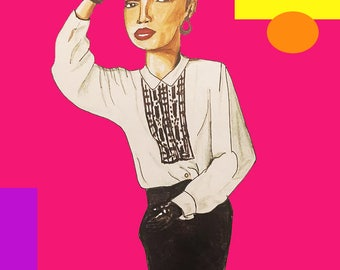 Sade Revamped Drawing Print / Sade Adu Art / Pop Art / 80's Style Art