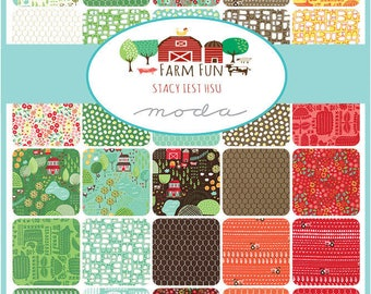 "FARM FUN - 5"" Charm Pack by Stacy Iest Hsu for Moda Fabrics - (42) 5"" x 5"" Squares - 20530PP"
