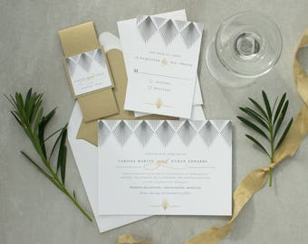 Art deco/Gatsby style wedding invitation with glamorous gold accents