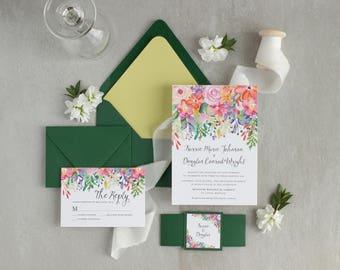 Wedding invitation   Botanical wedding invite - floral wedding invite - garden wedding invite - watercolor flowers invite - nature wedding