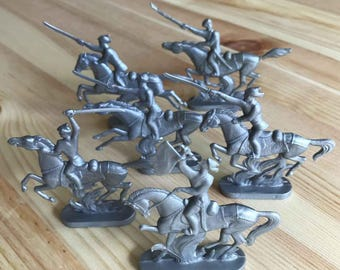 6 vintage USSR toy horsemans in Red Army style. 1980s.
