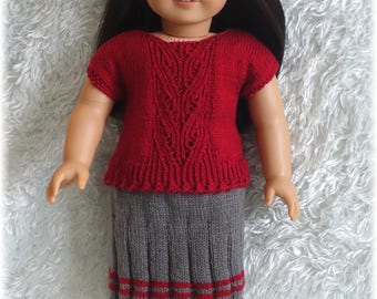 American Girl - Top and Ribbed Skirt (knitting pattern)