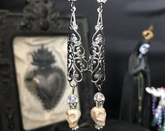 filigree earrings and skulls - witch - iridescent - Gothic - dark
