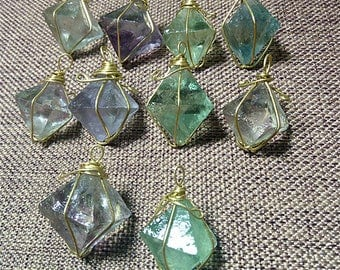 Brass Wire Wrapped Fluorite Octahedron Pendant