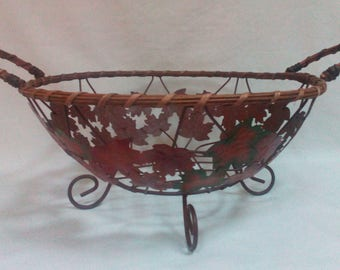 Vintage Autumn Round Wire and Whicker Basket with Metal Maple Leaves