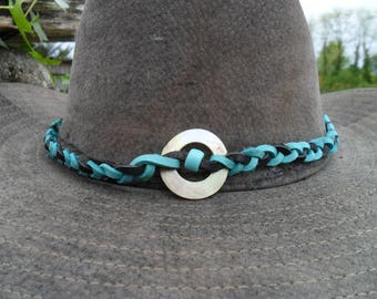 Hat circumference leather turquoise and black pearl beads and feathers