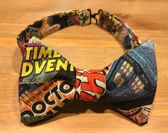 Doctor Who Bow Tie, Tardis, Comic Book, Self Tie, Pre Tied, Bowtie, Bow Ties Are Cool, Geronimo, Allonsy, Time Travel, Dapper On Arrival