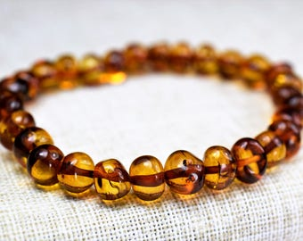 Amber bracelet. Adult Baltic Amber Bracelet. High quality amber. Genuine Baltic Amber. cognac color beads.