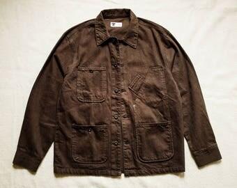 Tellason Brown White Cone Denim Chore Jacket Prison Raw Selvedge Shop Coat Buzz Rickson RRL lvc ww2 Nigel Cabourn Filson Jeans Vintage