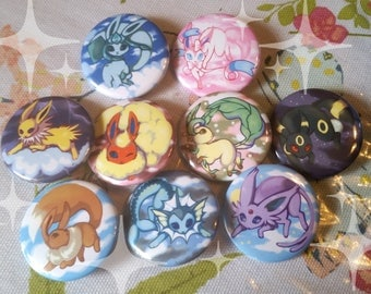 Pokemon Eevee Eeeveelutions 1.5'' Buttons