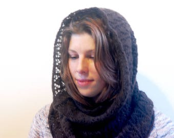 Hand knitted Cashmere Lace Snood