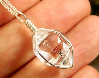 NY HERKIMER DIAMOND pendant - 12 x 16 mm - Sterling Silver Crystal Pendant - Mariel Cristofar Jewelry - Herkimer Diamond - Herkimer Pendant