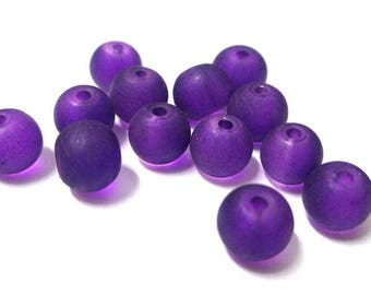 20 frosted purple glass beads 6mm (J-25)