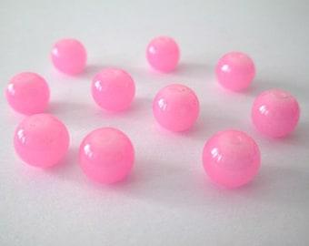 10 pink imitation jade glass 8mm beads