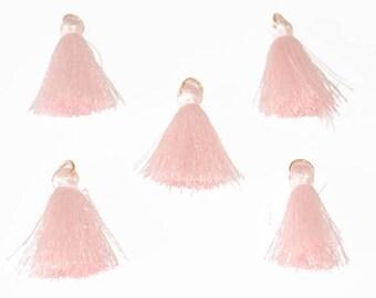 5 charm tassels pink cotton 3cm