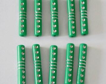 10 silver 5x27mm drawbench acrylic Green tube beads